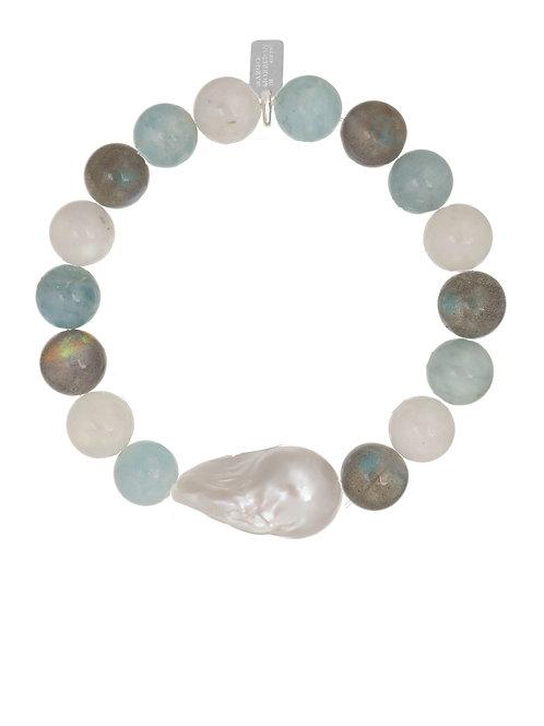 Margo Morrison - Aquamarine & Baroque Pearl Bracelet