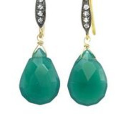 Green Onyx & White Sapphire Earrings - Margo Morrison