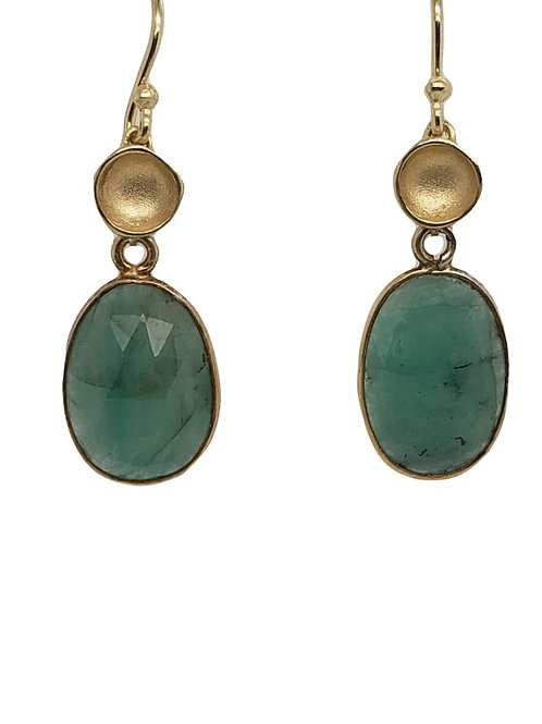 Emerald Chrysolite & 18kt Gold Vermeil Earrings