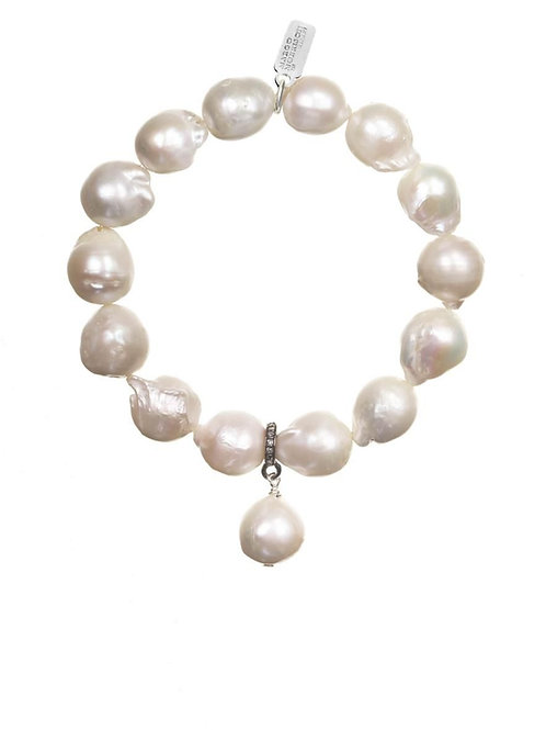 White Baroque Pearl Bracelet - Margo Morrison