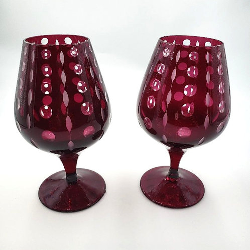 Artel - Pair of Cognac Goblets - Hand Engraved & hand Blown Crystal