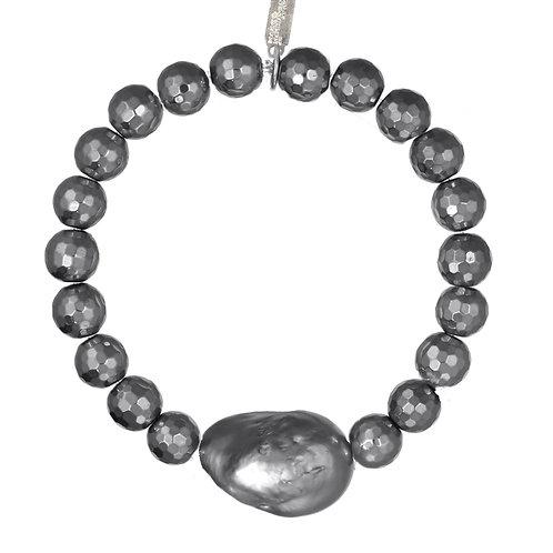 Margo Morrison - Hematite & Grey Baroque Pearl Bracelet