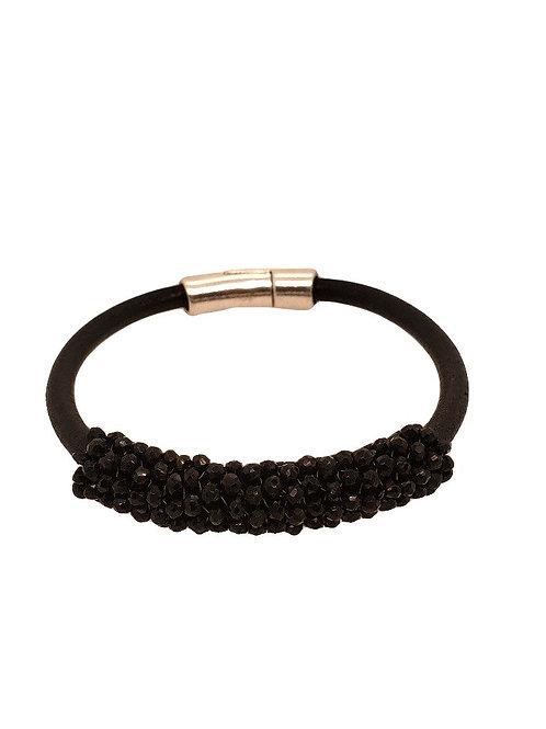 Black Spinel & Black Leather Bracelet -Dana Martell