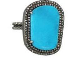 Turquoise & Pave Diamond Ring - Margo Morrison
