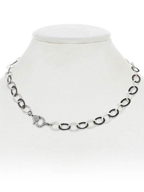 Rhodium & Sterling Chain With Diamond Clasp - Margo Morrison