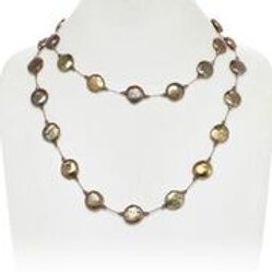 Brown Coin Pearl Necklace