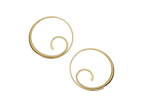 Scrolling Hoop Earrings - 14kt Gold Overlay