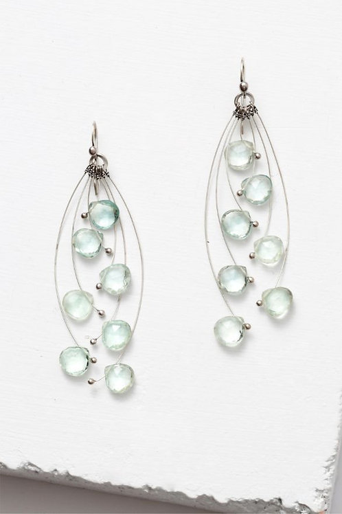 """Tickle"" Multi Green Amethyst & Sterling Silver Earrings"