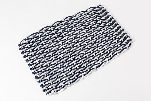 Handwoven Rope Doormat - Fog Gray & Navy