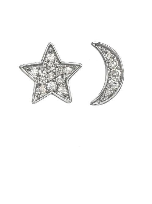 Diamond Moon & Star Post Earrings - Margo Morrison