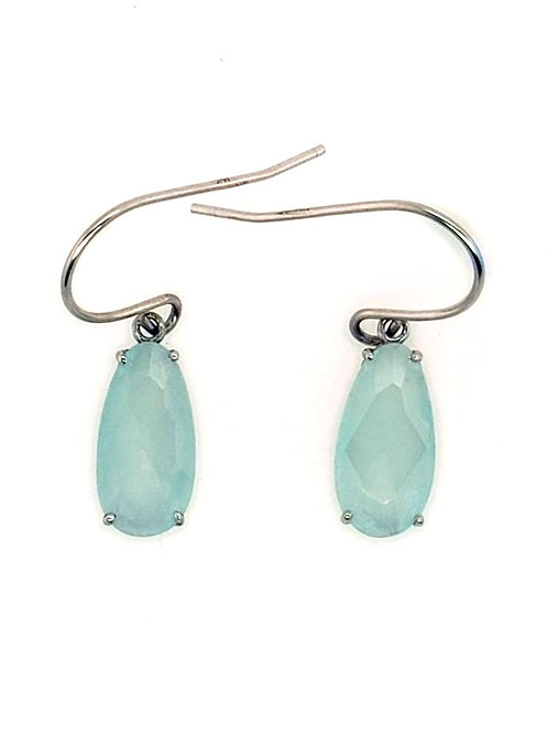 Aqua Chalcedony & 14kt White Gold Earrings