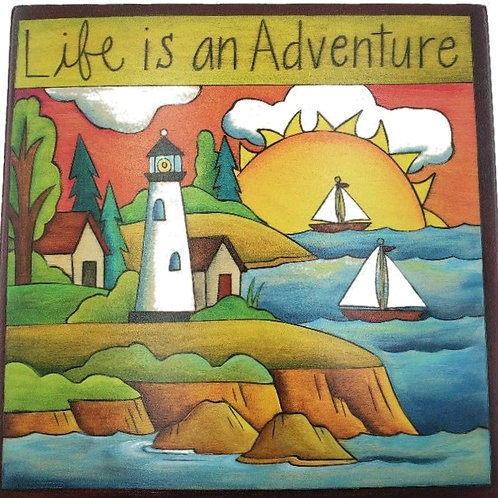 """Sincerely Sticks - """"Life Is An Adventure"""" Plaque 6"""" x 6"""""""