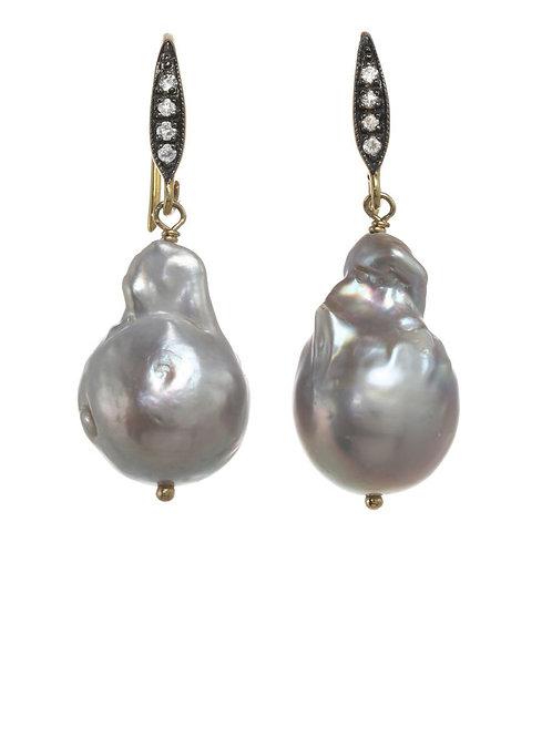 Grey Baroque Pearl & White Sapphire Earrings - Margo Morrison