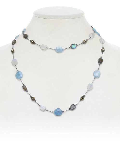 Labradorite, Moonstone, Aquamarine & Pyrite Necklace - Margo Morrison
