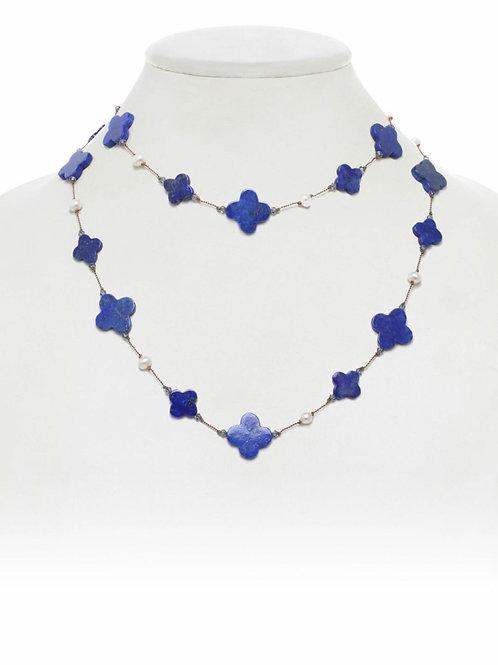 Lapis Clover Shape & Pearl Necklace - Margo Morrison