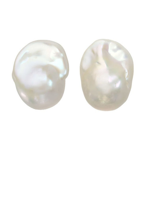 White Baroque Pearl Post Earrings - Margo Morrison