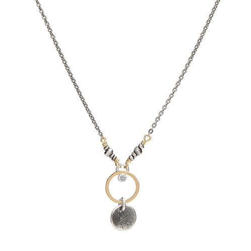 Sterling Silver, 14kt Gold Fill & CZ Necklace - J&I