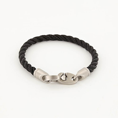 Single Wrap Rope Bracelet With Matte Stainless Steel Clasp - Black