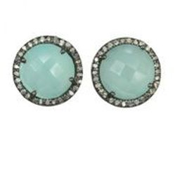 Chalcedony & Pave Diamond Earrings - Margo Morrison