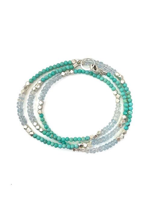 Philippa Roberts - Sterling, Turquoise & Aquamarine Wrap Bracelet