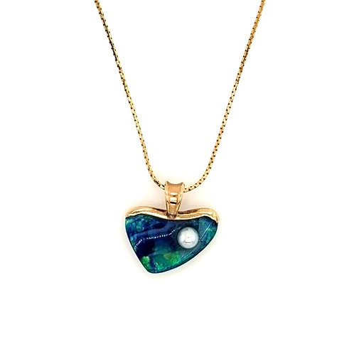 Opal, Pearl & 14kt Gold Pendant