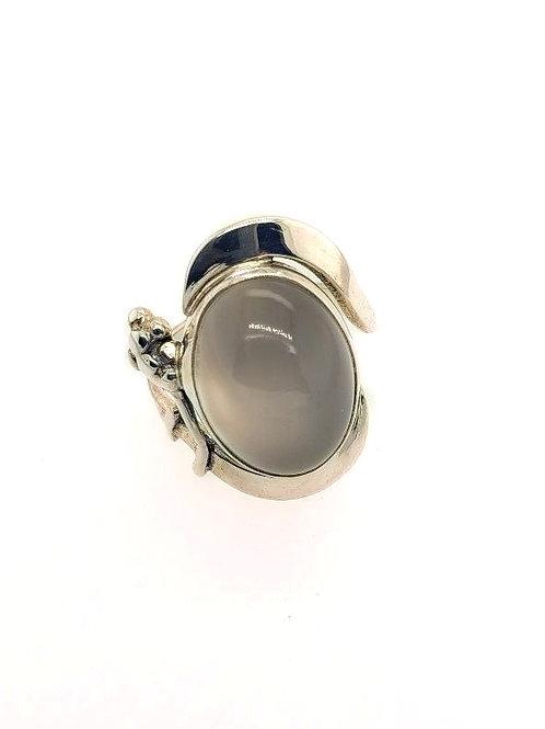 Grey Moonstone & Sterling Silver Ring