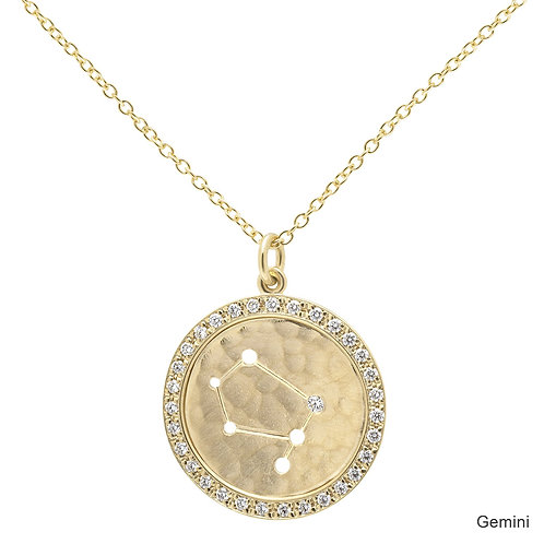 Pave Diamond & 18kt Gold Celestial Halo Necklace - Gemini - Anne Sportun