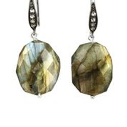 Labradorite & White Sapphire Earrings - Margo Morrison