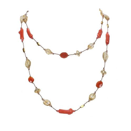 Margo Morrison - Coral, Hematite & Carnelian Necklace