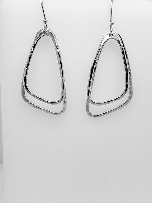Abstract Double Hoop Earrings - Sterling