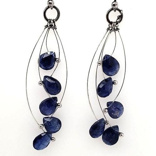 """""""Tickle"""" Earrings - Sterling Silver & Blue Sapphire"""