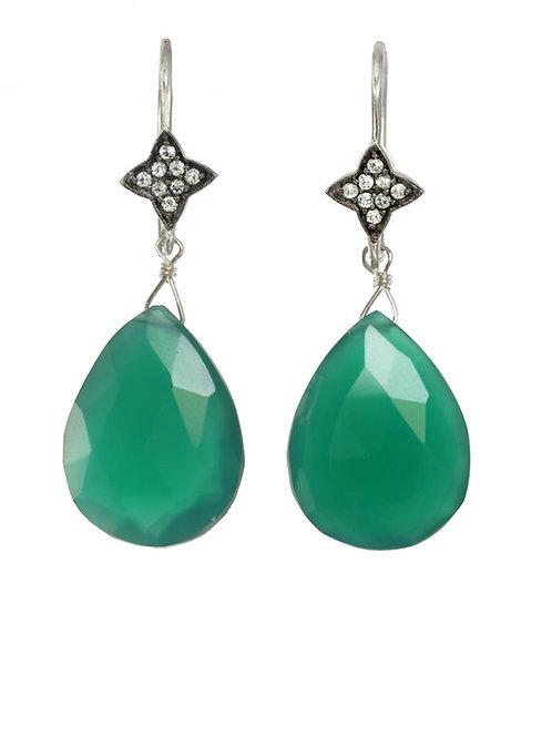 Green Onyx & White Sapphire Earrings