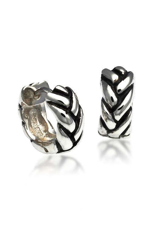 """""""Braid"""" Earrings - Snap Hoop - Sterling Silver"""