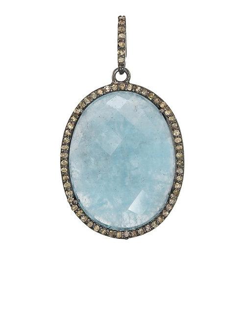 Aquamarine & Pave Diamond Charm - Margo Morrison