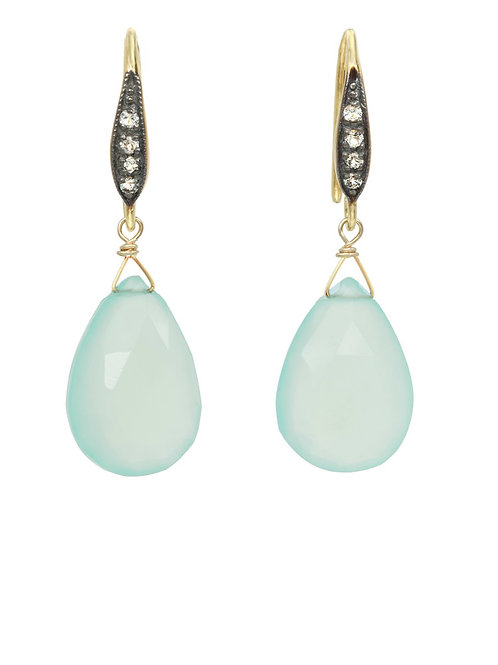 Aqua Chalcedony Teardrop Earrings