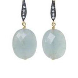 Aquamarine & White Sapphire Earrings - Margo Morrison