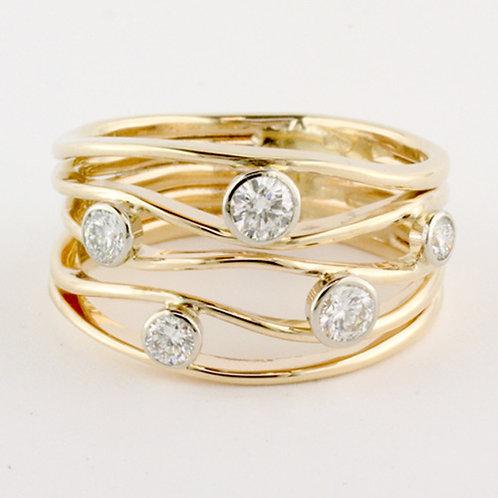 """River Stone Ring V"" - 14kt Gold & Diamonds"