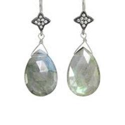 Faceted Labradorite & White Sapphire Earrings - Margo Morrison