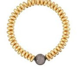 Gold Bead & Pave Diamond Ball Bracelet - Margo Morrison
