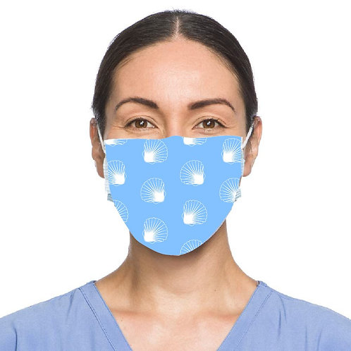 Scallop Shell Motif Face Mask - Light Blue