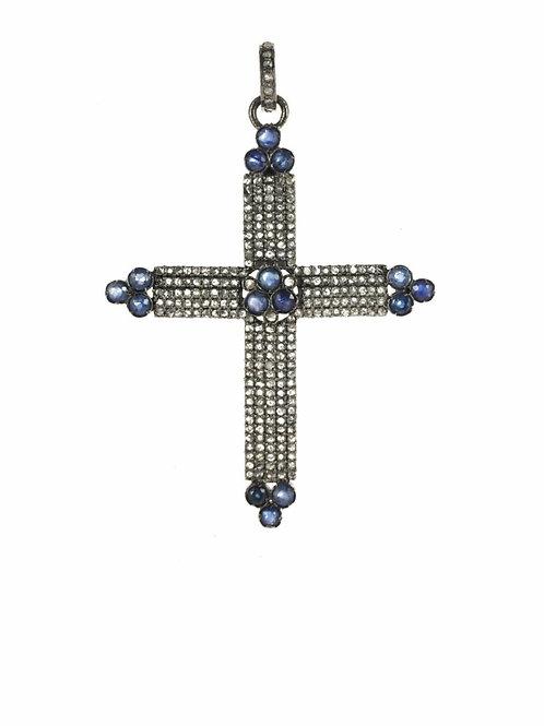Sapphire & Diamond Cross Charm - Margo Morrison