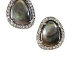 Abalone & Pave Diamond Earrings