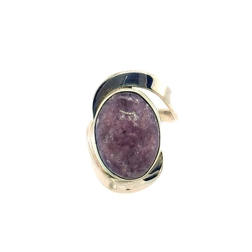 Purple Lepidolite & Sterling Silver Ring