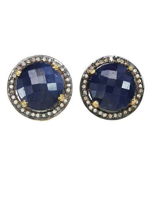 Blue Sapphire & Pave Diamond Earrings