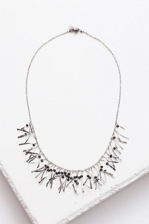 """Boa"" Necklace - Sterling Silver & Black Garnet"