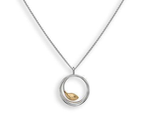 """""""Be-Leaf"""" Pendant - Sterling Silver & 14kt Gold - Ed Levin Studio"""