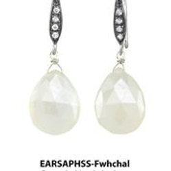 White Chalcedony & White Sapphire Earrings - Margo Morrison