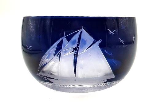 """Artel - Hand Engraved & hand Blown Crystal Bowl -  Sailing Ship """"Liberty"""""""