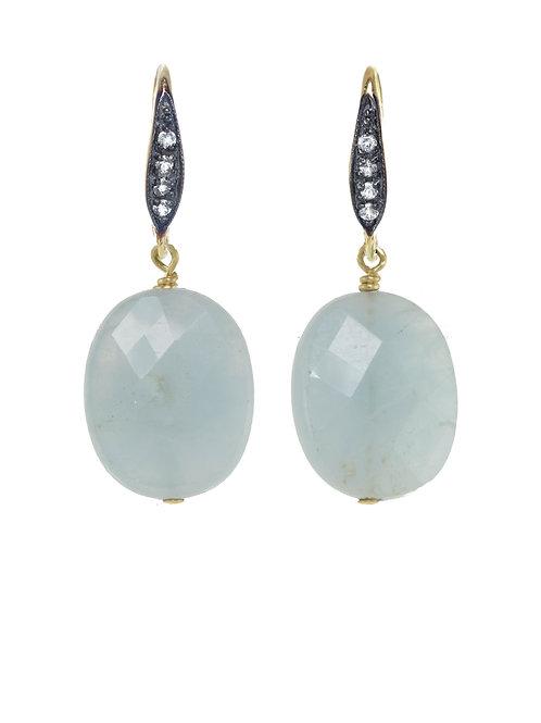 Margo Morrison - Aquamarine & White Sapphire Earrings