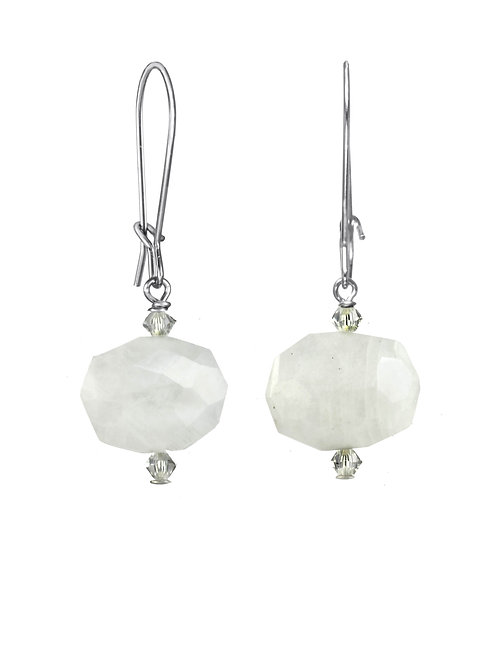 Margo Morrison - Rainbow Moonstone  & Sterling Silver Earrings